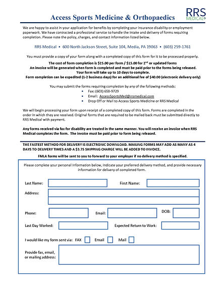Access Disability Form Patient Instructi