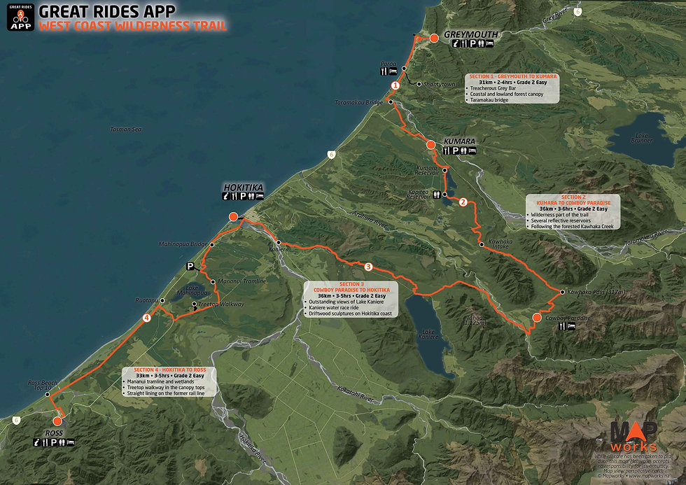 West Coast Wilderness Trail Map