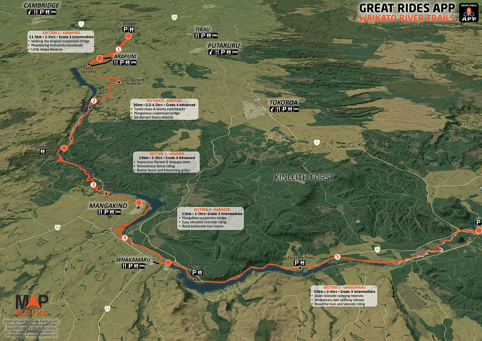 Waikato River Trails Map