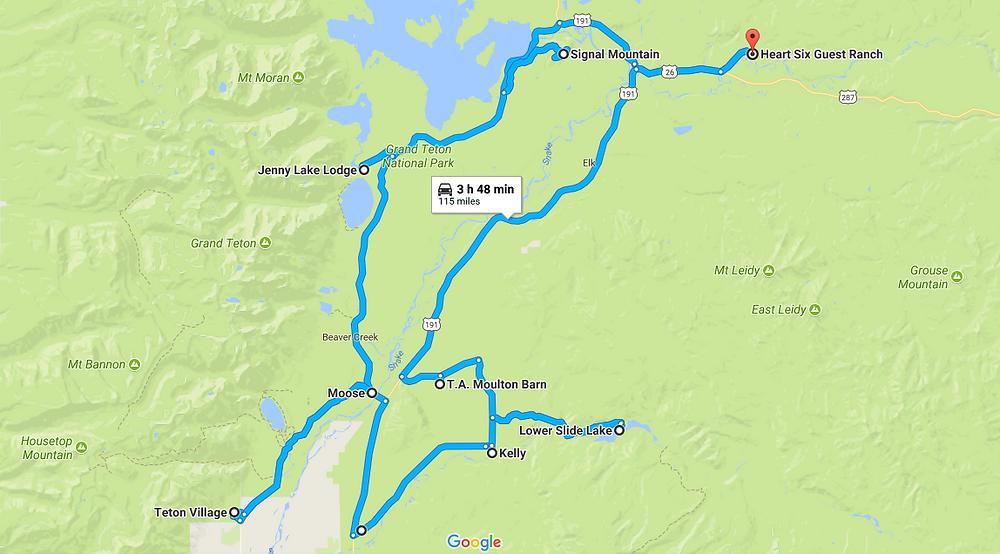 Trajet de notre road trip à Gran Teton