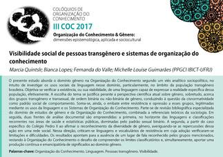 Visibilidade social de pessoas transgênero e sistemas de organização do conhecimento