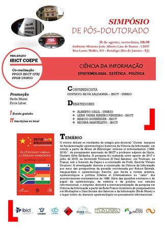Simpósio de Pós-doutorado - Ciência da Informação: epistemologia, estética e política