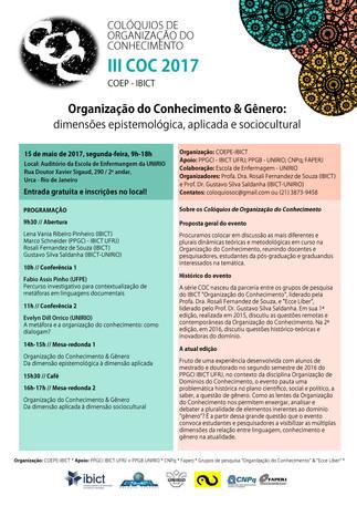 Organização do Conhecimento e Gênero - III COC 2017 - COEPE IBICT