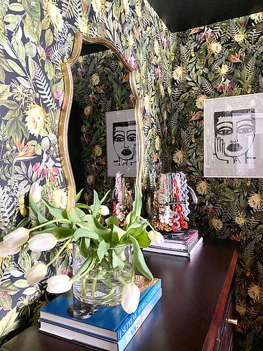 Wallpaper and black wall art