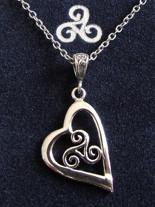 Pendentif triskell coeur argent