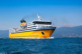 Big yellow passenger ferry goes on the M