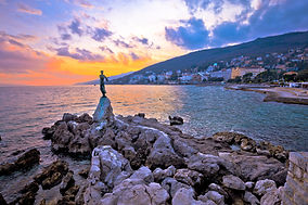 Town of Opatija waterfront sunset, Kvarn
