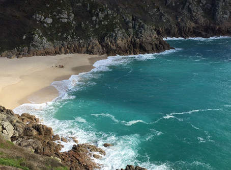 Porthcurno Beach in April