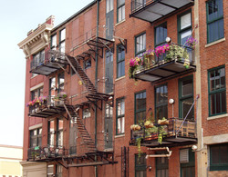 fire-escapes with metal balconys