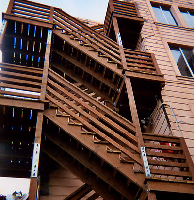 wood escape stair