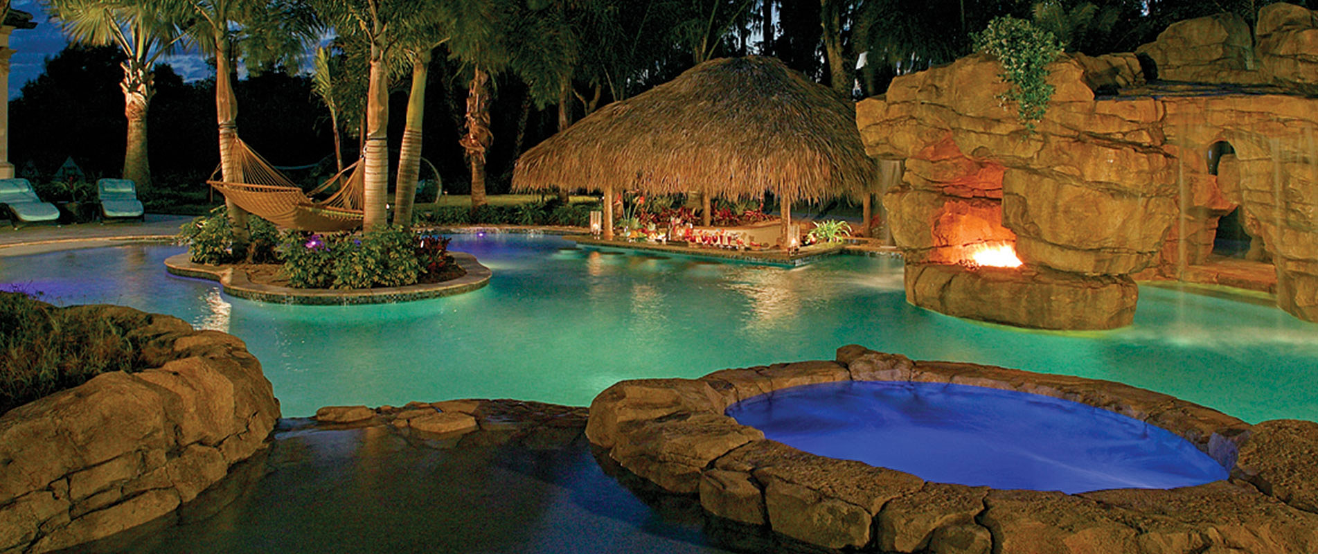 Wonderful Pool Designs Florida #6: Luxury-pool-with-island-and-hammock ...