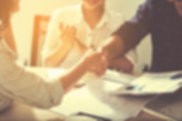 business handshaking process after successful deal of business meeting,Close up image handshake of b