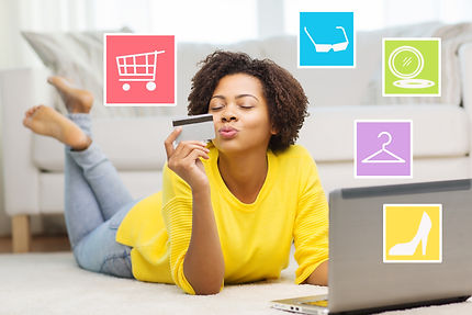 people, internet bank, online shopping, technology and e-money concept - happy african american youn