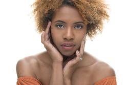 Aberdeen studio headshot beauty model white background black skin queen