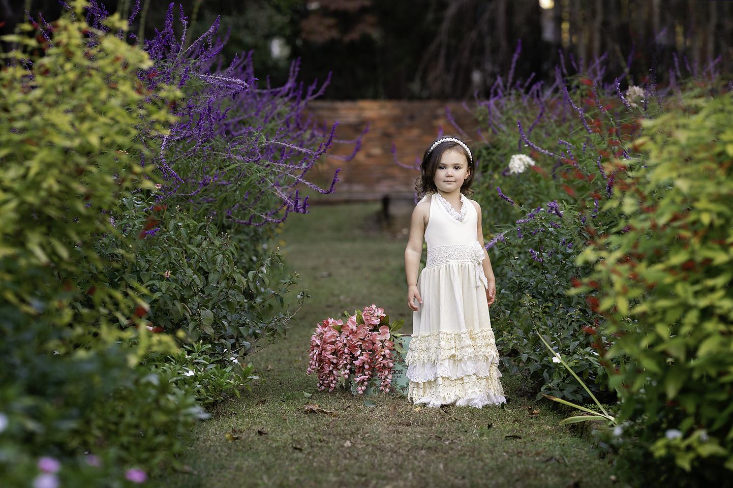portrait of girl flower garden