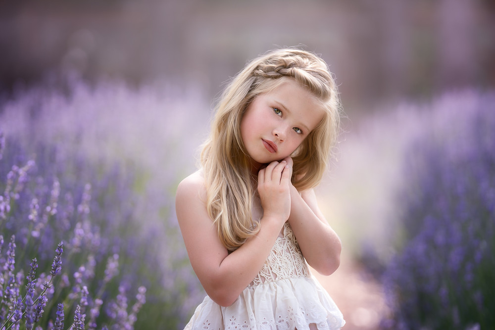 girl standing in lavender field makana photography aberdeen Cameron sanford raleigh portrait fine art