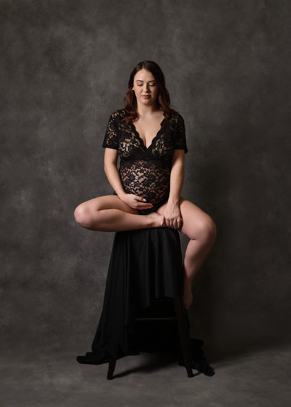 Studio maternity session in Vass. Fine art maternity boudoir Southern Pines. Studio pregnancy session