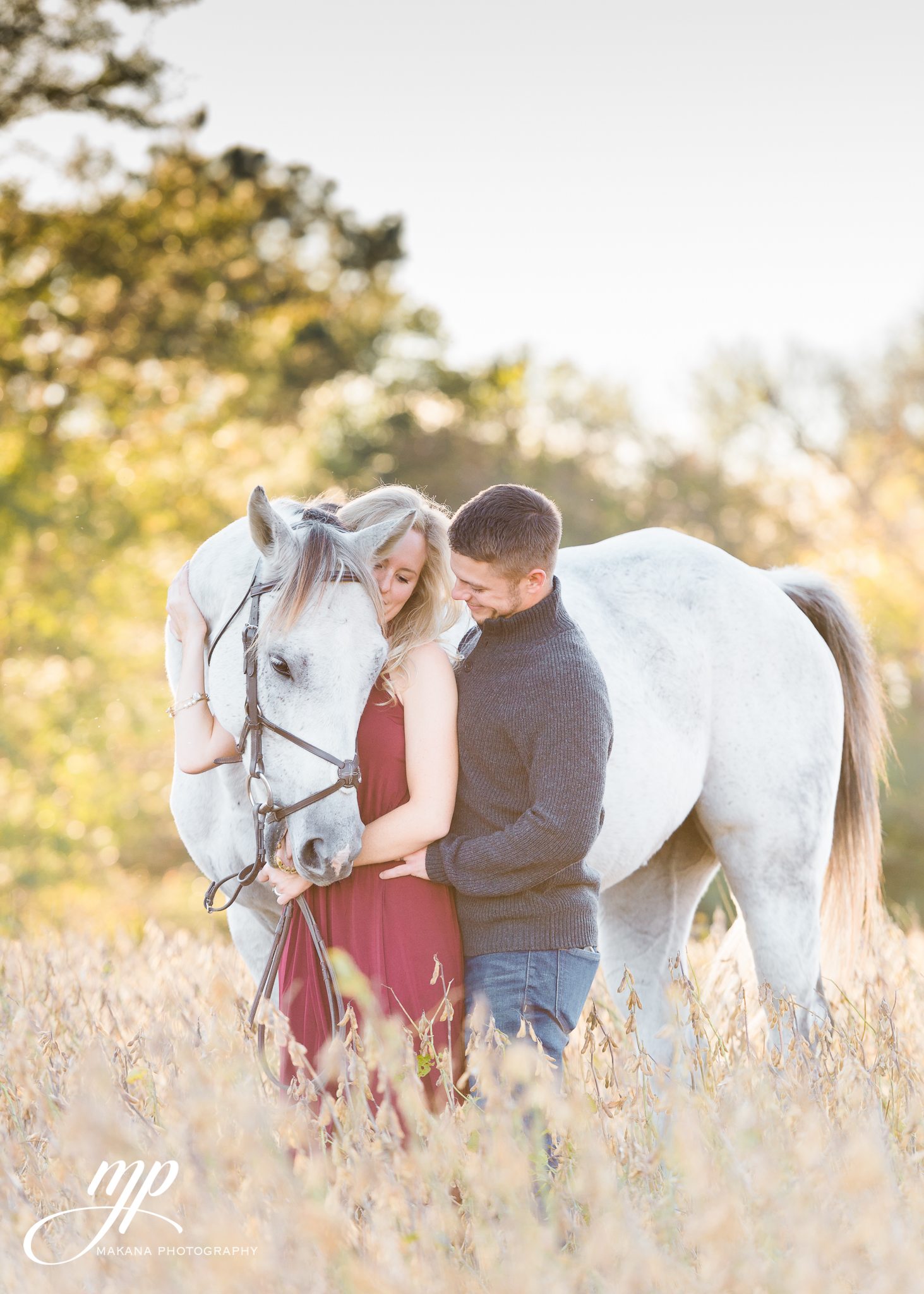 Engagement picture with horse