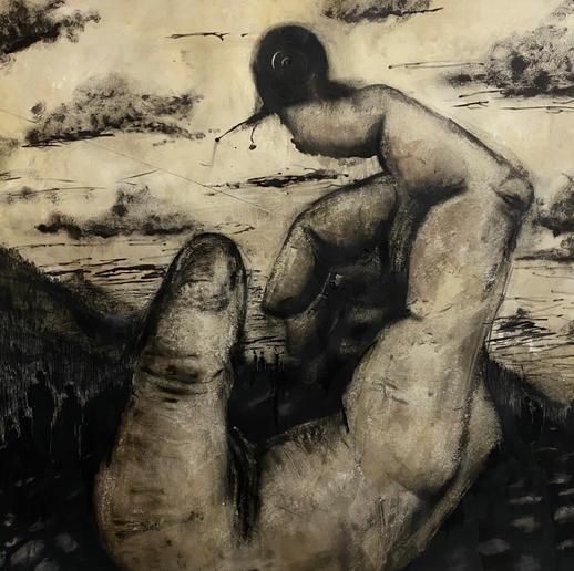 GiantHandAndASnail_120x120_Ink,Pasteland
