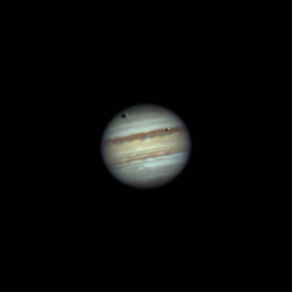 A double transit in front of Jupiter