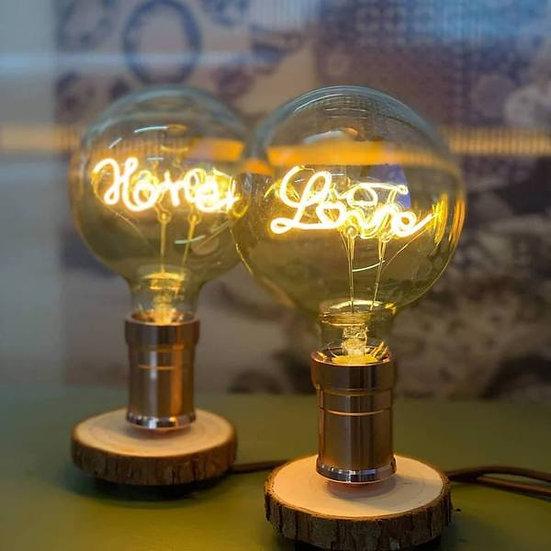 (組合) (Love & Home) LED 燈泡木枱燈