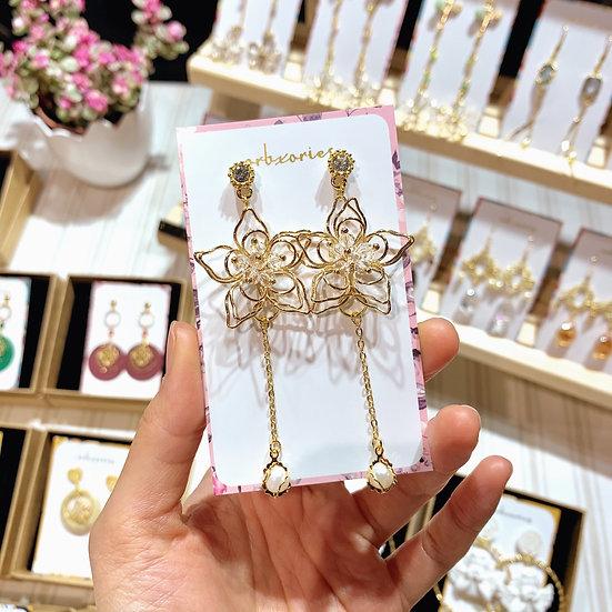 手製三層立體金花耳環