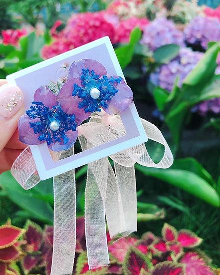 2ways紫陽花絲帶耳環
