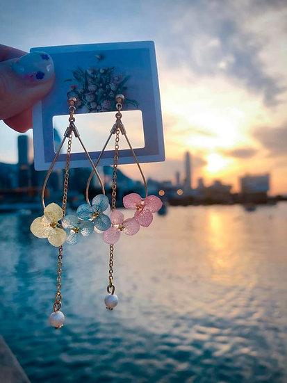 6色紫陽小花水滴珍珠耳環