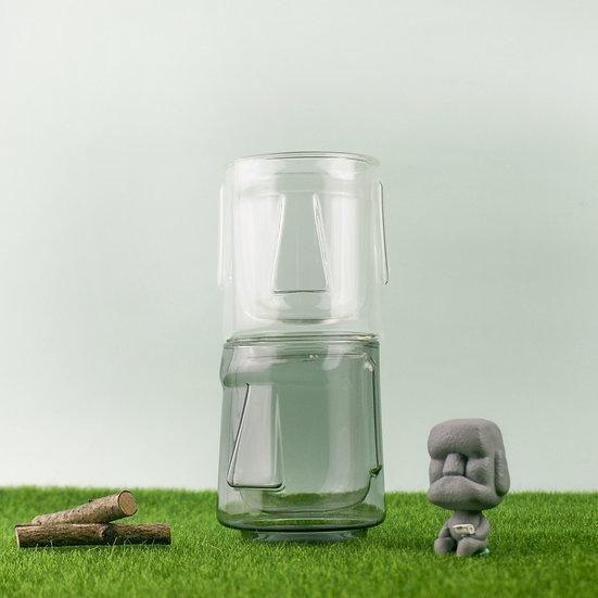 (Set) Moai Double - Clear + Black  (套裝) 摩艾雙層杯-清透 +透黑
