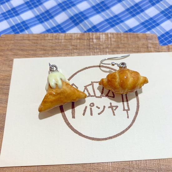 富士山、牛角酥耳環