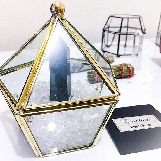 金邊五角形 - 白水晶盒 (細)