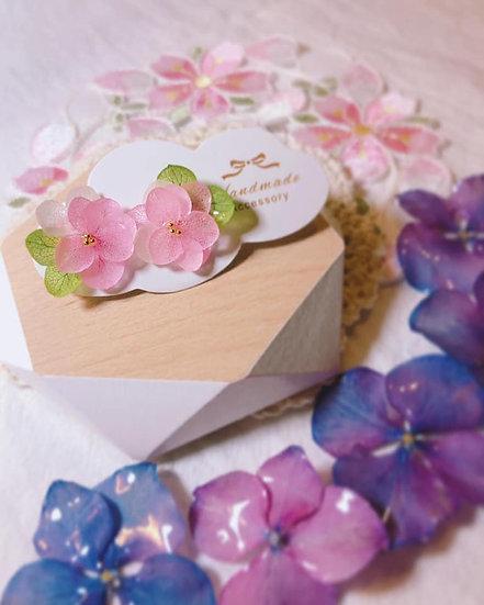 粉色紫陽花耳環