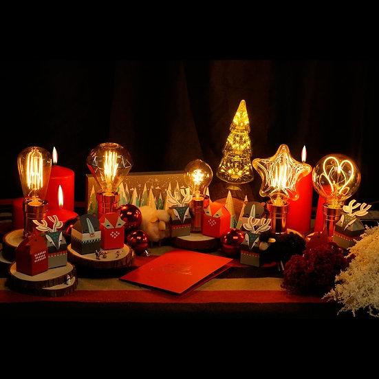(聖誕組合) LED 燈泡木枱燈 (木枱燈 x 2)