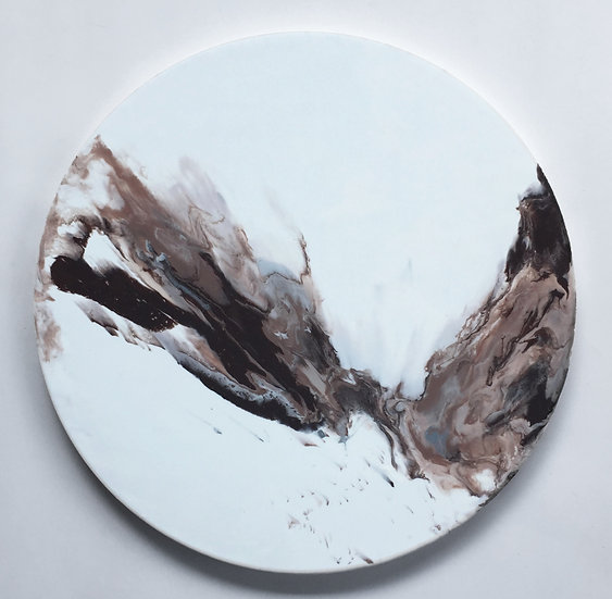 Cloud ash flow, lunar body, handmade wall clock (40cm)