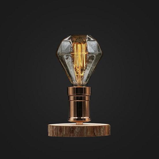 Large Diamond Wood Desk Lamp