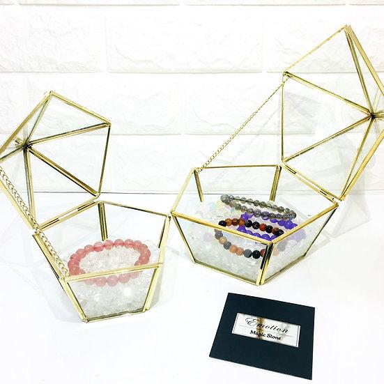 金邊五角形 - 白水晶盒 (大)