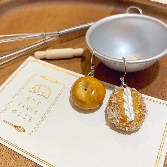 原味貝果,日式忌廉椰絲包耳環