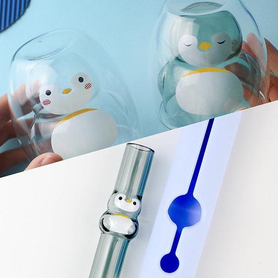 (套裝)企鵝雙層杯-清透 +透黑     &  2 set 企鵝造型玻璃吸管組