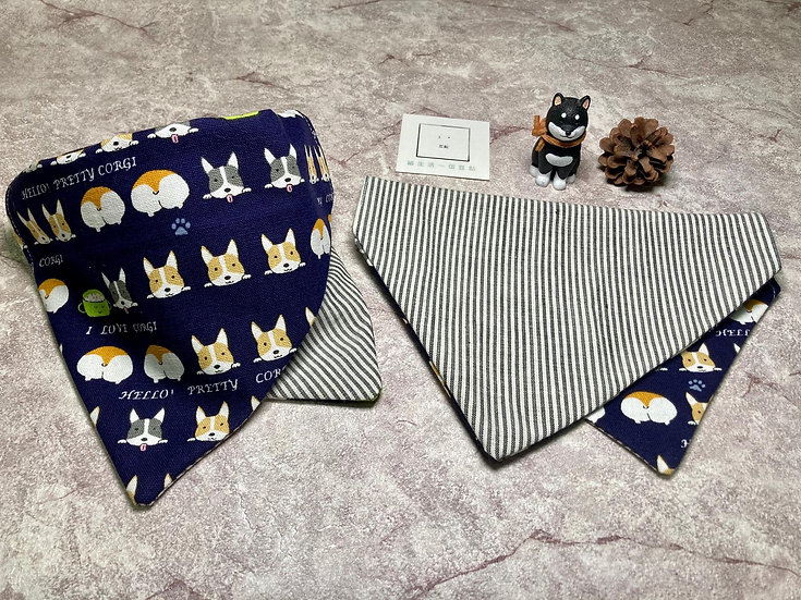 Dou Dim -  Pet Triangle Scarf (Double sided) 豆點 - 寵物雙面三角巾