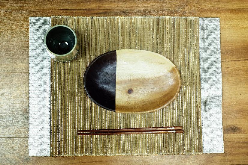橢圓形柚木碟