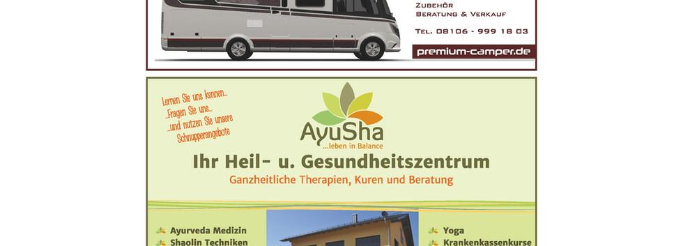 Anzeigengestaltung Gesundheitszentrum und Wohnmobilvermietung