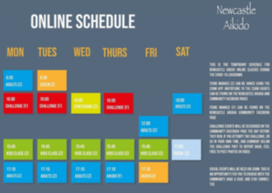 COVID Schedule Online Aikido Martial arts meditation zen