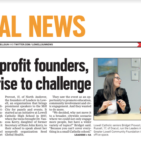 """""""As nonprofit founders, teens rise to challenge"""""""
