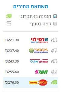 מחירי הסל בכל אחת מרשתות באתר