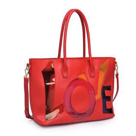 Love Women Tote Bag Red