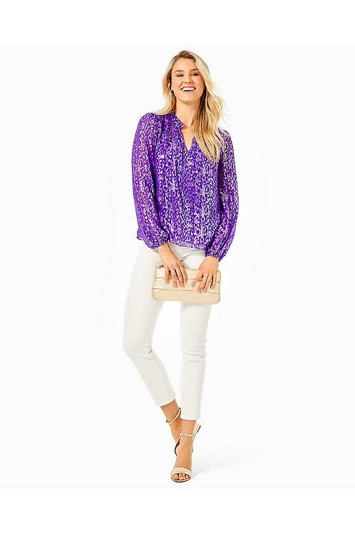Giana Ruffle Silk Top - Lilly Pulitzer
