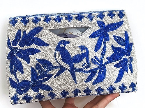Tiana Beaded Blue and White Bag