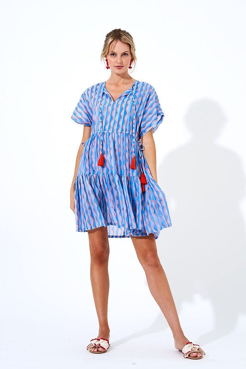 Side Tassel Dress - Blue