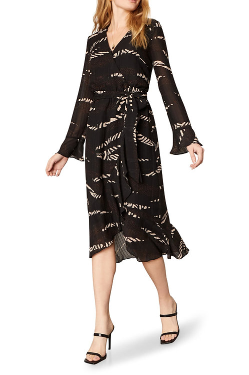 Ella Patchwork Print Long Sleeve Midi Wrap Dress - Cupcakes and Cashmere