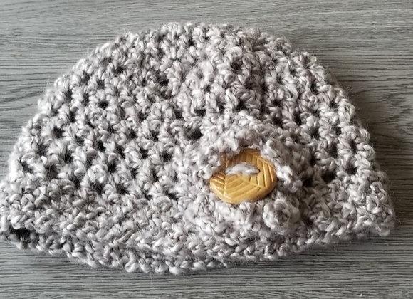 #KC35 - Crocheted Cloche Hat Linen Ochre Button
